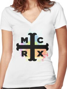MCRX Rainbow Splatter Logo Women's Fitted V-Neck T-Shirt