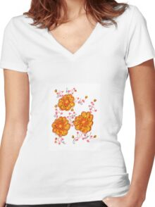 Yellow And Red Floral Women's Fitted V-Neck T-Shirt
