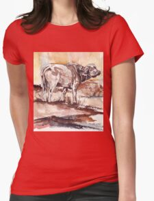 African Buffalo Womens Fitted T-Shirt
