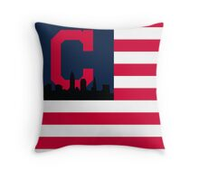 Cleveland Indians American Flag Throw Pillow