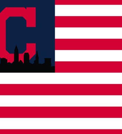 Cleveland Indians American Flag Sticker