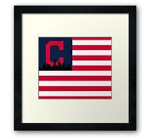 Cleveland Indians American Flag Framed Print