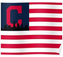 Cleveland Indians American Flag Poster