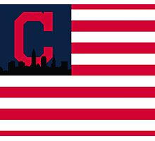 Cleveland Indians American Flag Photographic Print