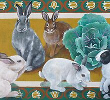 Bunnies in the garden by M. E.  Bilisnansky McMorrow