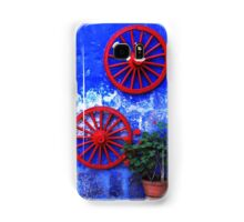 Geranium and red wheels on the blue wall Samsung Galaxy Case/Skin