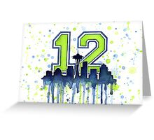 Seattle Seahawks 12th Man Fan Art Greeting Card