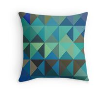 aqua triangles Throw Pillow