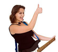 Female guitarist Thumbs Up gesture  Photographic Print