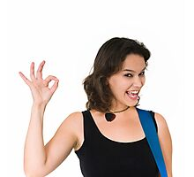 Smiling Female guitarist gives the OK sign  Photographic Print
