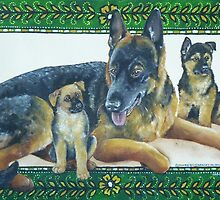 German Shepherd and Pups by M. E.  Bilisnansky McMorrow