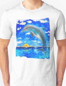 Baby Dolphin Radiant Sunrise Unisex T-Shirt