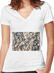 Sea shells on Habonim beach, Israel Women's Fitted V-Neck T-Shirt