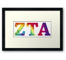 zeta tau alpha tie dye text Framed Print