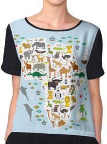 African animal map and ocean Chiffon Top