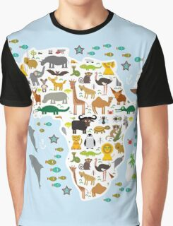 African animal map and ocean Graphic T-Shirt