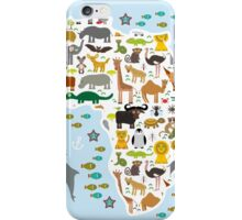 African animal map and ocean iPhone Case/Skin