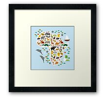 African animal map and ocean Framed Print