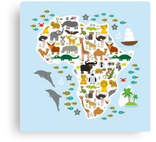 African animal map and ocean Canvas Print