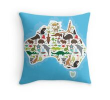 Australian Animal Map  Throw Pillow