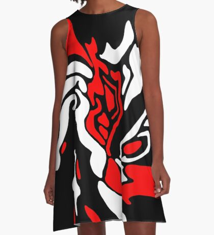 Red, black and white decor A-Line Dress