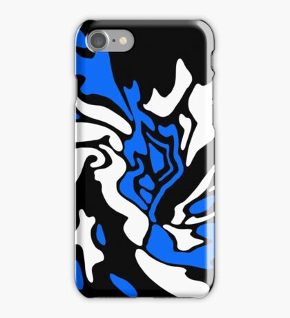 Blue, black and white decor iPhone Case/Skin