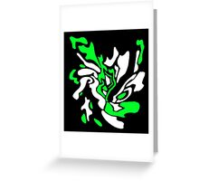 Green, black and white decor Greeting Card