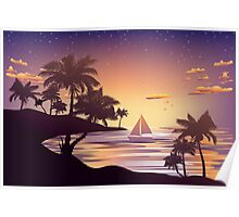 Tropical Island at Sunset 3 Poster