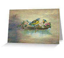 Birds In Boat Fantasy Greeting Card