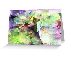 Pink and Green Floral Abstract Greeting Card