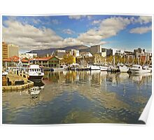 Fishermans Wharf and Hobart cityscape Poster