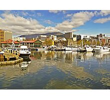 Fishermans Wharf and Hobart cityscape Photographic Print