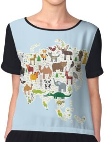 Eurasia Animal Map light blue Chiffon Top