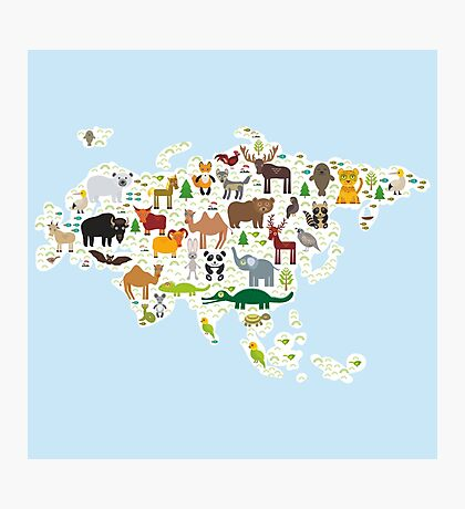 Eurasia Animal Map light blue Photographic Print
