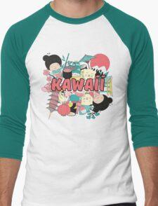 Kawaii Japanese Style Cuteness Design  Men's Baseball ¾ T-Shirt