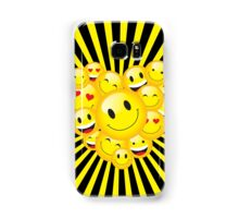 Yellow Smiley Face Emoticons Heart Rave Night Party Pattern Samsung Galaxy Case/Skin