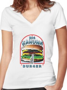 "Big ""KAHUNA"" Burger On Sesame Light Women's Fitted V-Neck T-Shirt"