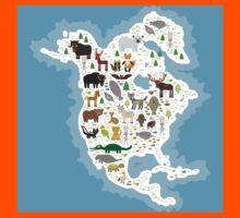Northern America Animal Map Kids Tee