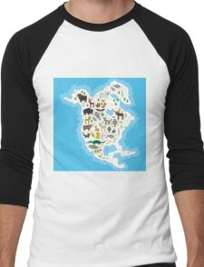 Northern America Animal Map Men's Baseball ¾ T-Shirt