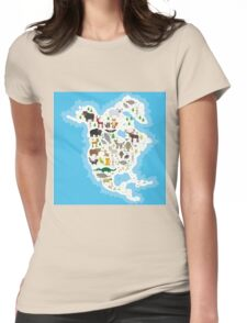 Northern America Animal Map Womens Fitted T-Shirt