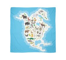 Northern America Animal Map Scarf