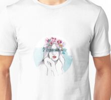 Lady Blossom with Flowecrown Unisex T-Shirt