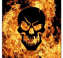 Flaming Skull by 420Stickers