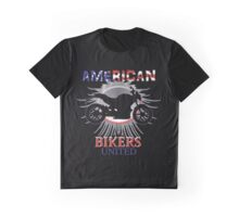 Motorbike American Bikers United Red White Blue Patriotic Graphic Graphic T-Shirt
