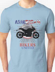 Motorbike American Bikers United Red White Blue Patriotic Graphic Unisex T-Shirt