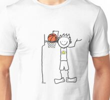 Slam dunk by a very tall basketball player - FOR LIGHT COLORED BACKGROUND Unisex T-Shirt