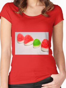 A line of red colourful sugared jelly sweets with one green one in the centre Women's Fitted Scoop T-Shirt