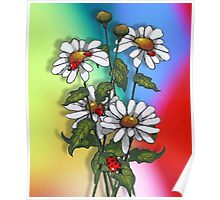 Daisies with Ladybugs, Ladybirds on Multi-Colored Background Poster