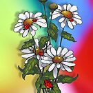 Daisies with Ladybugs, Ladybirds on Multi-Colored Background by Joyce Geleynse