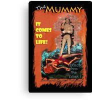 Woman in the red dress meets The Mummy Canvas Print
